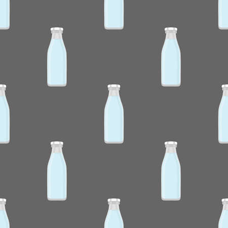 Illustration on theme set identical types glass bottles for drinking water. Water pattern consisting of collection kitchen accessory, same glass bottles to organic food. Tasty water in glass bottles. Çizim