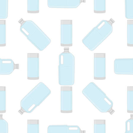 Illustration on theme set identical types plastic bottles for drinking water. Water pattern consisting of collection kitchen accessory, plastic bottles to organic food. Tasty water in plastic bottles. Çizim