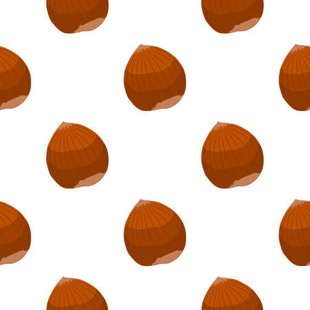 Illustration on theme big pattern identical types hazelnut, nut equal size. Hazelnut pattern consisting of natural nut for colored print on wallpaper. Abstract colorful pattern from many nut hazelnut. Stok Fotoğraf - 161555629