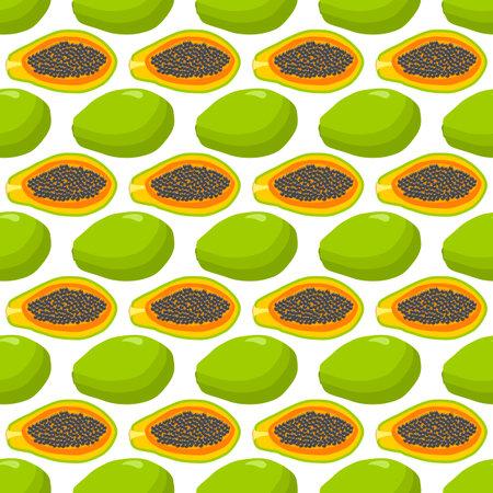 Illustration on theme big colored seamless papaya, bright fruit pattern for seal. Fruit pattern consisting of beautiful seamless repeat papaya. Simple colorful pattern fruit from seamless papaya. Çizim