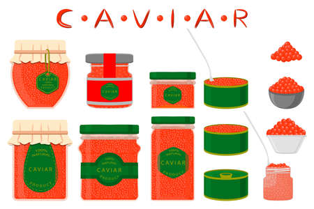 Illustration on theme big set various types fish caviar, metal can different size. Metal can consisting of fresh fish caviar for colored print on wallpaper. Many colorful fish caviar in new metal can. Çizim