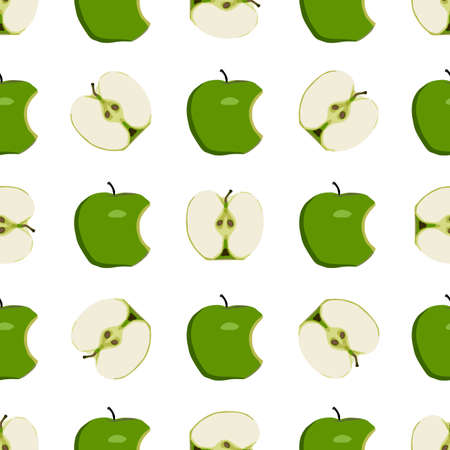 Illustration on theme big colored seamless apple, bright fruit pattern for seal. Fruit pattern consisting of beautiful seamless repeat apple. Simple colorful pattern fruit from seamless beauty apple. Çizim