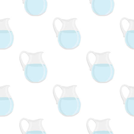 Illustration on theme colored set identical types glass jugs for drinking water. Water pattern consisting of collection kitchen accessory, same glass jugs to organic food. Tasty water in glass jugs. Stok Fotoğraf - 161762908