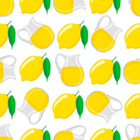 Illustration on theme big colored lemonade in lemon jug for natural drink. Lemonade pattern consisting of collection kitchen accessory, lemon jug to organic food. Tasty fresh lemonade from lemon jug. Çizim