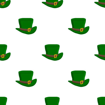 Illustration on theme Irish holiday St Patrick day, seamless headdress hats. Pattern St Patrick day consisting of many identical hats on white background. Hats it main accessory for St Patrick day.