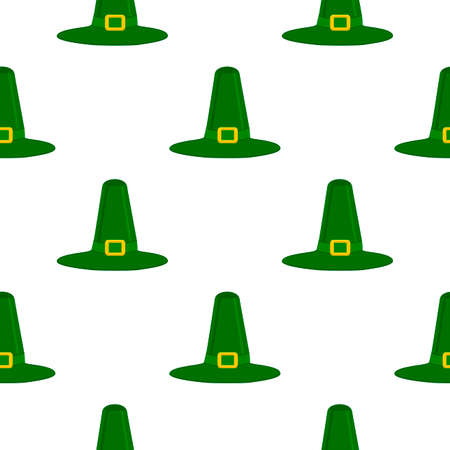 Illustration on theme Irish holiday St Patrick day, seamless headdress hats. Pattern St Patrick day consisting of many identical hats on white background. Hats it main accessory for St Patrick day. Stok Fotoğraf - 161919604