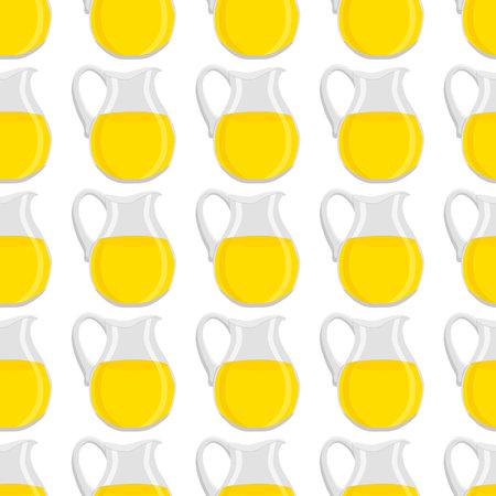 Illustration on theme big colored lemonade in glass jug for natural drink. Lemonade pattern consisting of collection kitchen accessory, glass jug to organic food. Tasty fresh lemonade from glass jug. Ilustração Vetorial