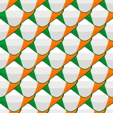Illustration on theme Irish holiday St Patrick day, seamless color hearts. Pattern St Patrick day consisting of many identical hearts on white background. Hearts it main accessory for St Patrick day. Ilustração