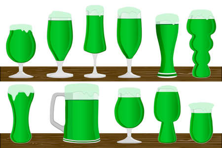 Illustration on theme Irish holiday St Patrick day, big set beer in mug. St Patrick day consisting of many identical beer to mug on white background. Beer at mug it main accessory for St Patrick day.