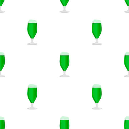 Illustration Irish holiday St Patrick day, seamless color beer in mug. Pattern St Patrick day consisting of many identical beer mug on white background. Beer at mug main accessory for St Patrick day.
