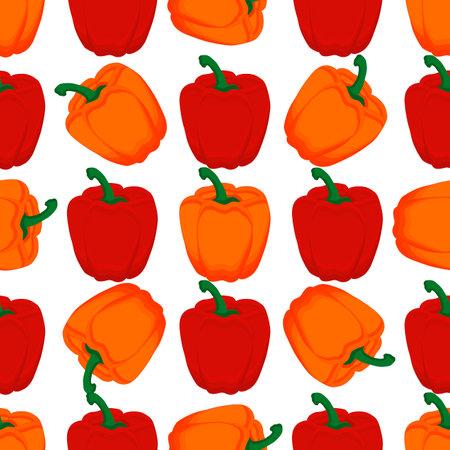 Illustration on theme of bright pattern bell pepper, vegetable capsicum for seal. Vegetable pattern of beautiful bell pepper, many capsicum. Simple colorful vegetable pattern from capsicum bell pepper Ilustração