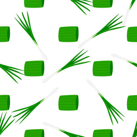 Illustration on theme of bright pattern green onion, vegetable root for seal. Vegetable pattern consisting of beautiful green onion, many root. Simple colorful vegetable pattern from root green onion. Ilustração