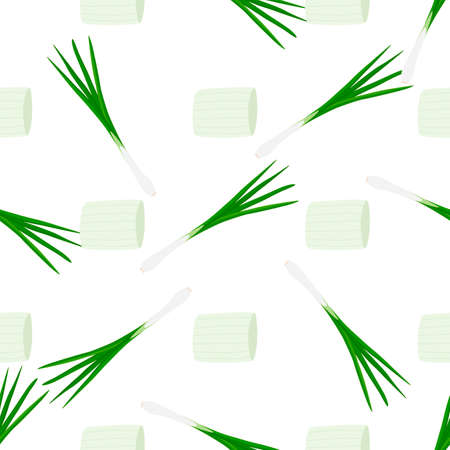 Illustration on theme of bright pattern green onion, vegetable root for seal. Vegetable pattern consisting of beautiful green onion, many root. Simple colorful vegetable pattern from root green onion.