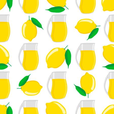 Illustration on theme big colored lemonade in lemon jug for natural drink. Lemonade pattern consisting of collection kitchen accessory, lemon jug to organic food. Tasty fresh lemonade from lemon jug.