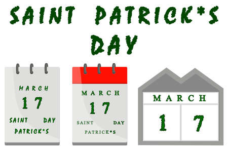 Irish holiday St Patrick day, big paper calender with date. Pattern St Patrick day consisting of many different paper calender off date. Paper calender from date it main accessory for St Patrick day.
