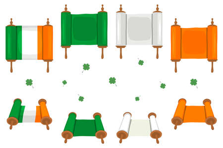 Irish holiday St Patrick day, big set scrolls paper ribbon. St Patrick day consisting of many different scrolls paper ribbon on background. Scrolls paper ribbon it main accessory for St Patrick day.
