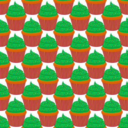 Illustration on theme Irish holiday St Patrick day, seamless green muffins. Pattern St Patrick day consisting of many identical muffins on white background. Muffins it main accessory St Patrick day. Ilustração