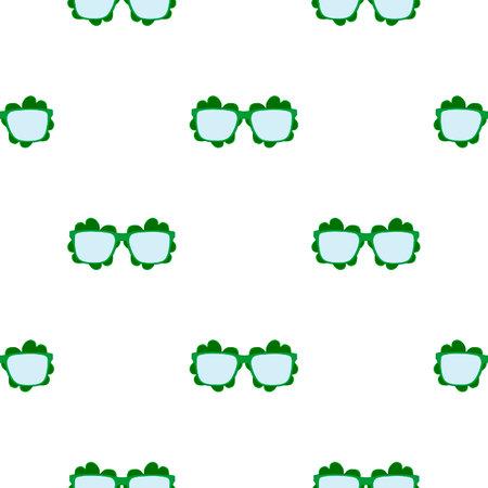 Illustration on theme Irish holiday St Patrick day, seamless eyeglasses. Pattern St Patrick day consisting of many identical eyeglasses on white background. Eyeglasses it main accessory St Patrick day Ilustração