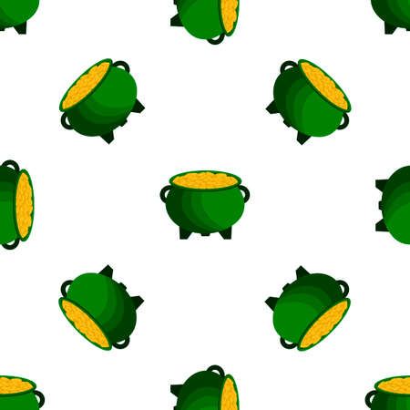 Illustration on theme Irish holiday St Patrick day, seamless pot of coins. Pattern St Patrick day of many identical coins in pot on white background. Pot for coins it main accessory for St Patrick day Ilustração