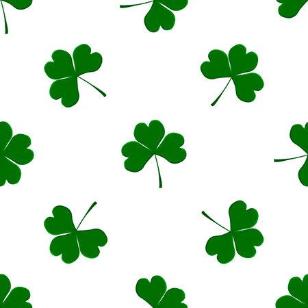 Illustration on theme Irish holiday St Patrick day, seamless green shamrock clover. Pattern St Patrick day consisting of many identical shamrock clover. Green shamrock main clover for St Patrick day.