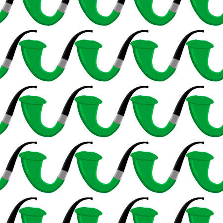 Irish holiday St Patrick day, seamless green smoking pipes. Pattern St Patrick day consisting of many identical smoking pipes on white background. Smoking pipes it main accessory for St Patrick day.