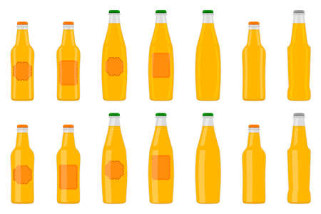 Illustration on theme big kit beer glass bottles with lid for brewery. Pattern beer consisting of many identical glass bottles on white background. Glass bottles it main accessory for beer gourmet. Ilustração