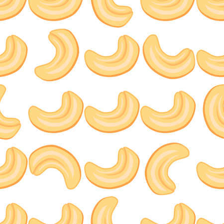 Illustration on theme big pattern identical types cashew, nut equal size. Cashew pattern consisting of natural nut for colored print on wallpaper. Abstract colorful pattern from many yummy nut cashew.