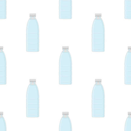Illustration on theme set identical types plastic bottles for drinking water. Water pattern consisting of collection kitchen accessory, plastic bottles to organic food. Tasty water in plastic bottles. Ilustração