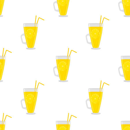Illustration on theme big colored lemonade in glass cup for natural drink. Lemonade pattern consisting of collection kitchen accessory, glass cup to organic food. Tasty fresh lemonade from glass cup. Ilustração