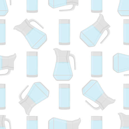 Illustration on theme colored set identical types glass jugs for drinking water. Water pattern consisting of collection kitchen accessory, same glass jugs to organic food. Tasty water in glass jugs. Ilustração
