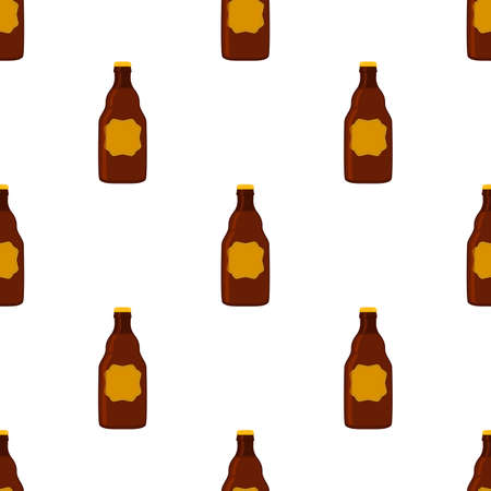 Illustration on theme seamless beer glass bottles with lid for brewery. Pattern beer consisting of many identical glass bottles on white background. Glass bottles it main accessory for beer gourmet.
