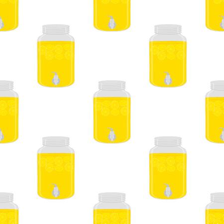Illustration on theme big colored lemonade in lemon jug for natural drink. Lemonade pattern consisting of collection kitchen accessory, lemon jug to organic food. Tasty fresh lemonade from lemon jug. Ilustração