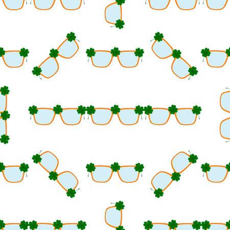 Illustration on theme Irish holiday St Patrick day, seamless eyeglasses. Pattern St Patrick day consisting of many identical eyeglasses on white background. Eyeglasses it main accessory St Patrick day Иллюстрация