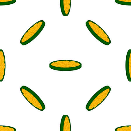 Illustration on theme Irish holiday St Patrick day, seamless pot of coins. Pattern St Patrick day of many identical coins in pot on white background. Pot for coins it main accessory for St Patrick day Иллюстрация