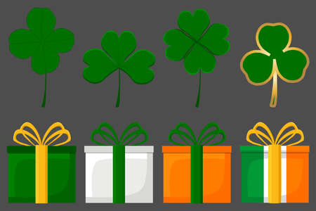 Irish holiday St Patrick day, big set gift boxes with ribbon. Pattern St Patrick day consisting of many different gift boxes in ribbon. Gift boxes from ribbon it main accessory for St Patrick day. Иллюстрация