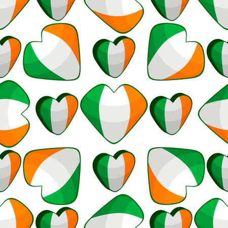 Illustration on theme Irish holiday St Patrick day, seamless color hearts. Pattern St Patrick day consisting of many identical hearts on white background. Hearts it main accessory for St Patrick day. Иллюстрация