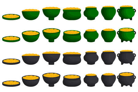 Illustration on theme Irish holiday St Patrick day, coins in pot. Pattern St Patrick day consisting of many different pot of coins on white background. Pot for coins it main accessory St Patrick day. Иллюстрация