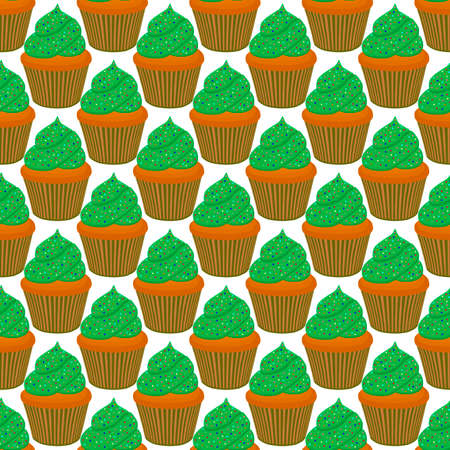 Illustration on theme Irish holiday St Patrick day, seamless green muffins. Pattern St Patrick day consisting of many identical muffins on white background. Muffins it main accessory St Patrick day. Иллюстрация