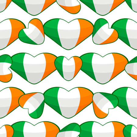 Illustration on theme Irish holiday St Patrick day, seamless color hearts. Pattern St Patrick day consisting of many identical hearts on white background. Hearts it main accessory for St Patrick day. Çizim