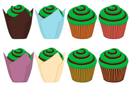 Illustration on theme Irish holiday St Patrick day, big set green muffins. Pattern St Patrick day consisting of many different muffins on white background. Muffins it main accessory for St Patrick day Çizim