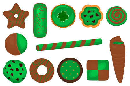 Illustration on theme Irish holiday St Patrick day, big set green cookies. Pattern St Patrick day consisting of many different cookies on white background. Cookies it main accessory for St Patrick day Çizim