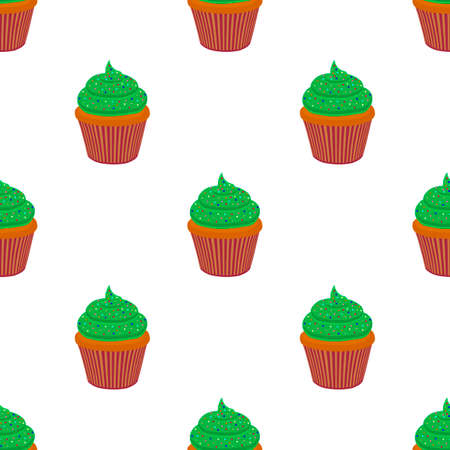 Illustration on theme Irish holiday St Patrick day, seamless green muffins. Pattern St Patrick day consisting of many identical muffins on white background. Muffins it main accessory St Patrick day. Çizim