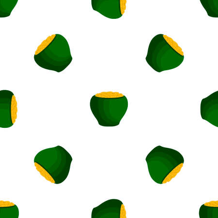 Illustration on theme Irish holiday St Patrick day, seamless pot of coins. Pattern St Patrick day of many identical coins in pot on white background. Pot for coins it main accessory for St Patrick day Çizim