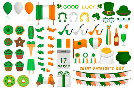 Illustration Irish holiday St Patrick day, gold coins in pot. Big set Irish St Patrick day consisting of pot of gold coins, green hats, much more. Pot for gold coins it accessory Irish St Patrick day.