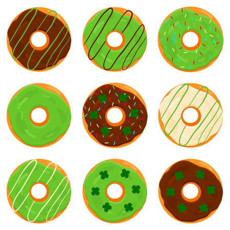 Illustration on theme Irish holiday St Patrick day, big set donuts. Pattern St Patrick day consisting of many different donuts on white background. Donuts it main accessory for St Patrick day