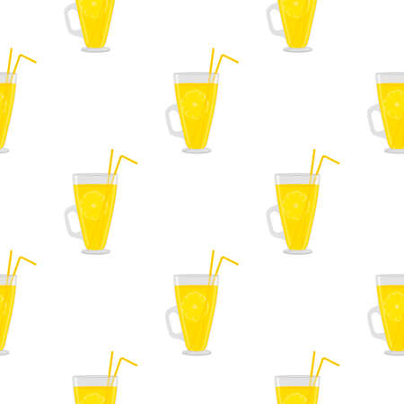 Illustration on theme big colored lemonade in glass cup for natural drink. Lemonade pattern consisting of collection kitchen accessory, glass cup to organic food. Tasty fresh lemonade from glass cup. Çizim