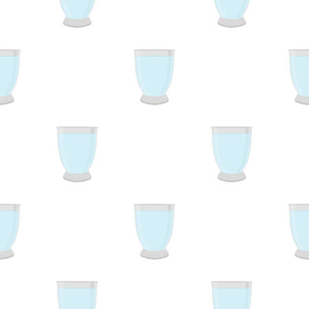 Illustration on theme colored set identical types glass cups for drinking water. Water pattern consisting of collection kitchen accessory, same glass cups to organic food. Tasty water in glass cups. Çizim