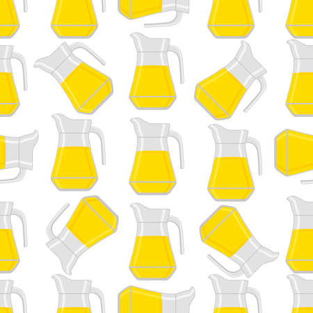 Illustration on theme big colored lemonade in glass jug for natural drink. Lemonade pattern consisting of collection kitchen accessory, glass jug to organic food. Tasty fresh lemonade from glass jug.