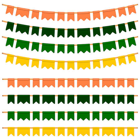 Irish holiday St Patrick day, big set from flags on rope. Pattern St Patrick day consisting of many different flags at rope on bright background. Flags in rope it main accessory for St Patrick day.