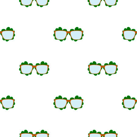 Illustration on theme Irish holiday St Patrick day, seamless eyeglasses. Pattern St Patrick day consisting of many identical eyeglasses on white background. Eyeglasses it main accessory St Patrick day Çizim